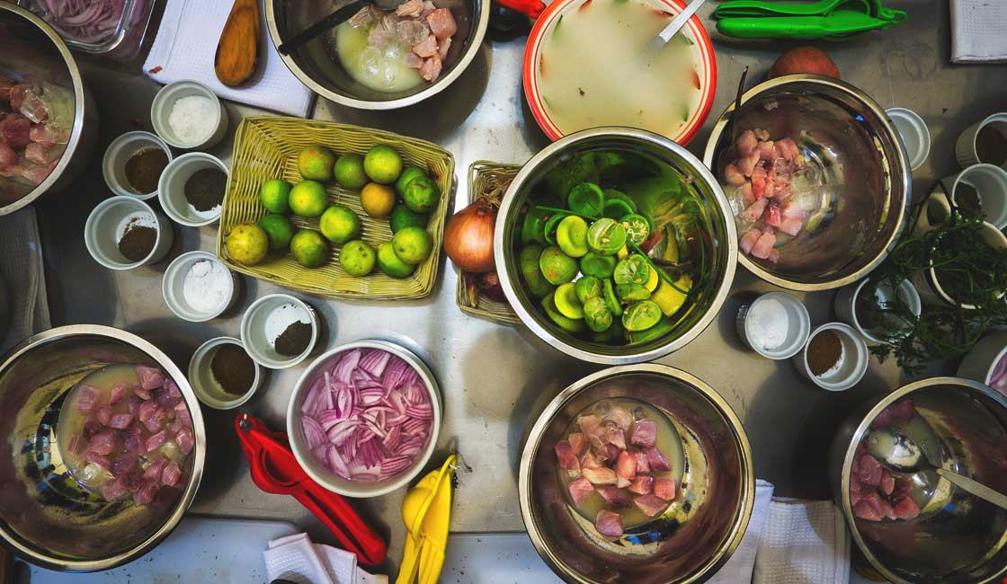Ingredients of ceviche laid out on a table