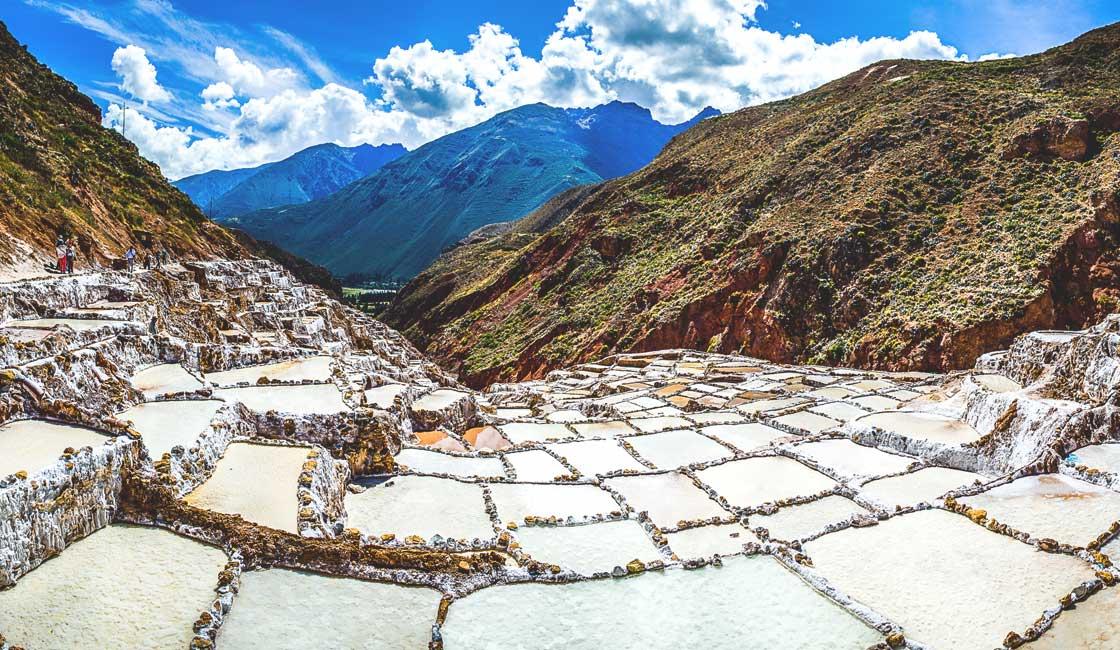 Salt ponds on the hill slope