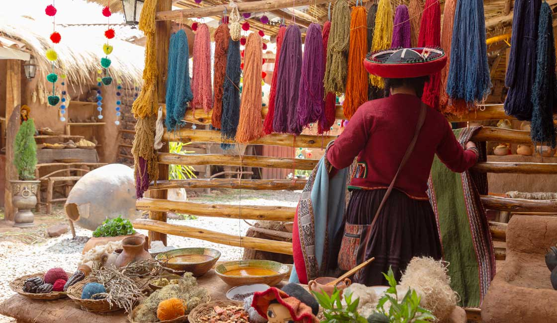 Stall selling weaved items
