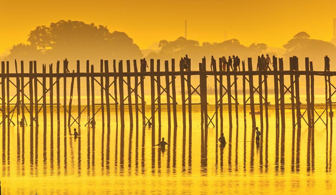 Stilded bridge in the sunset