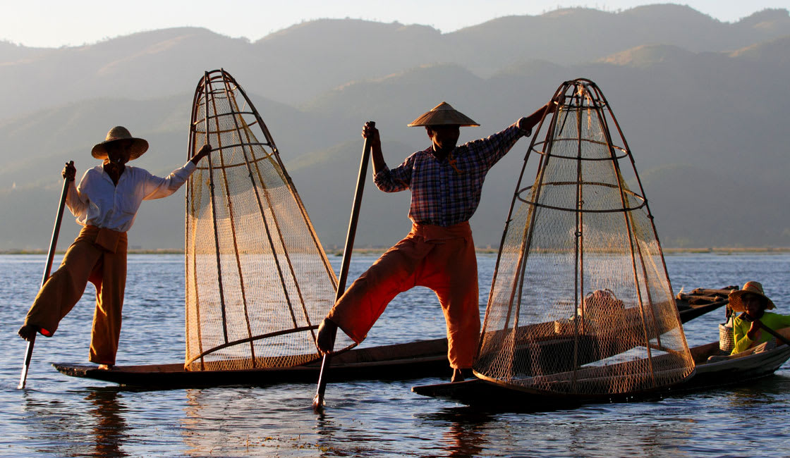 Traditional fishermen on their boats