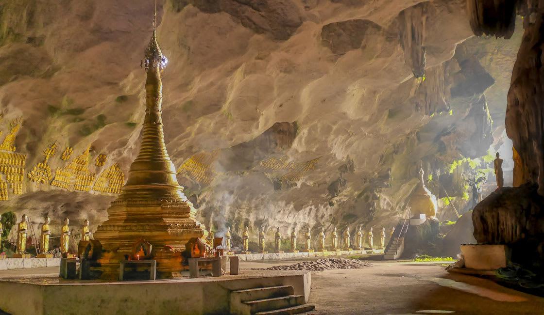 Buddhist stupa inside the cave