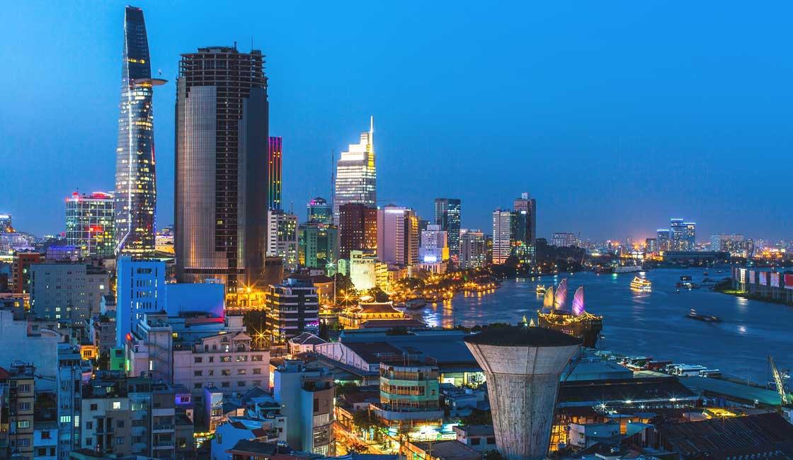 Saigon panorama by night