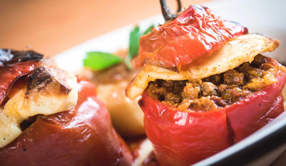 Roast stuffed red pepper