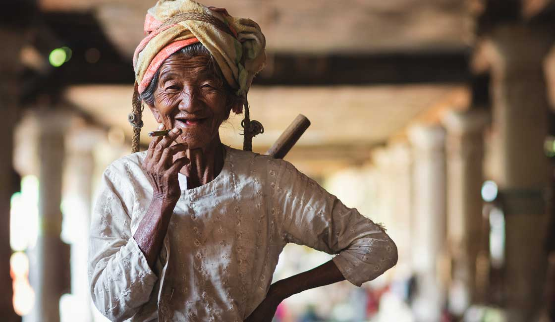 Shan State old woman with a cigarette