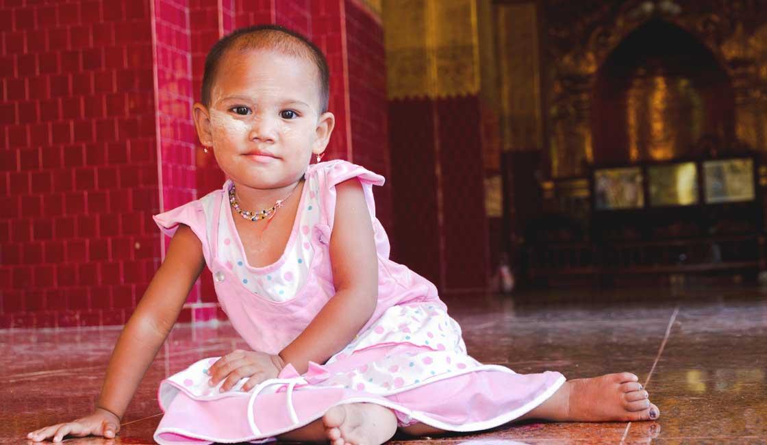 Little Burmese girl in a temple