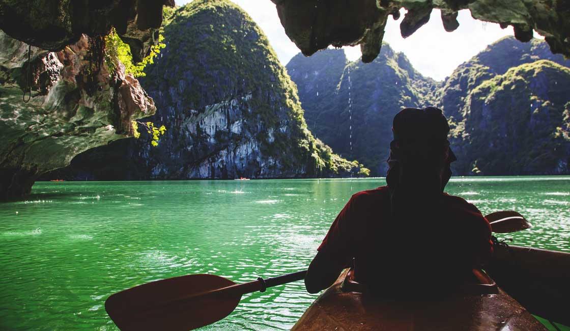 People kayaking in Halong Bay