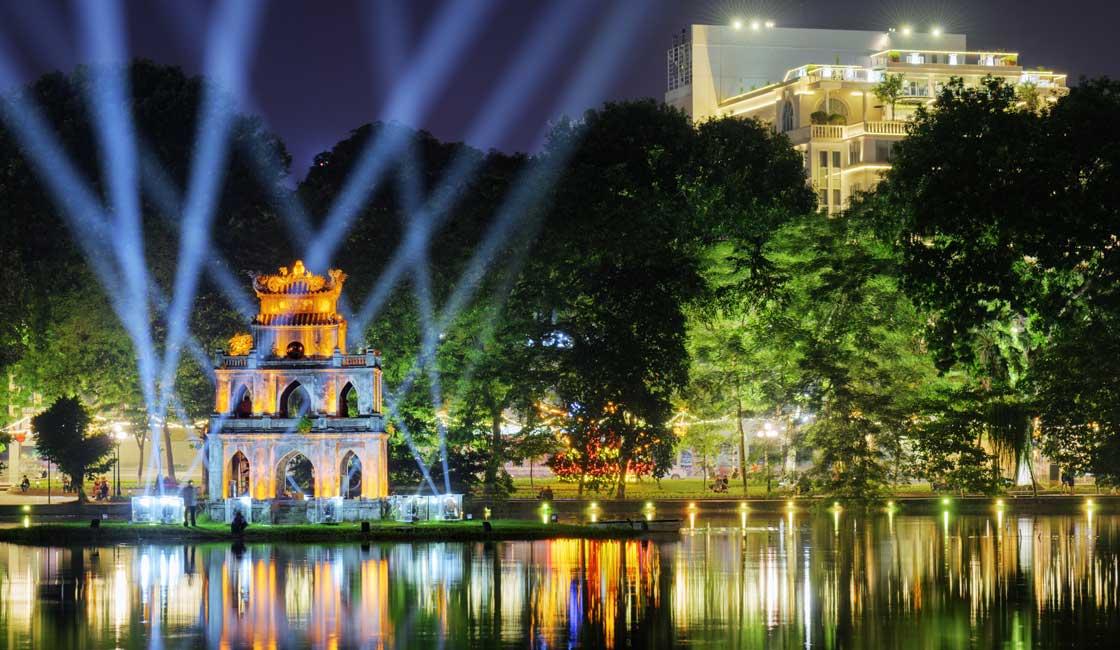 Hanoi city center at night