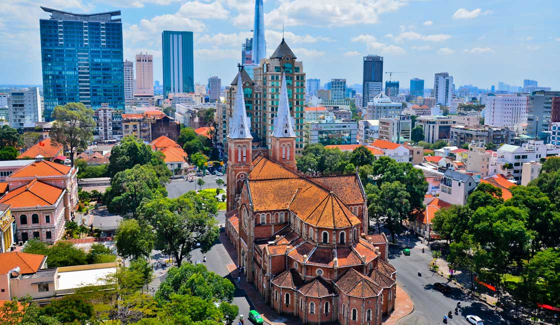Cathedral in Saigon downtown aerial view