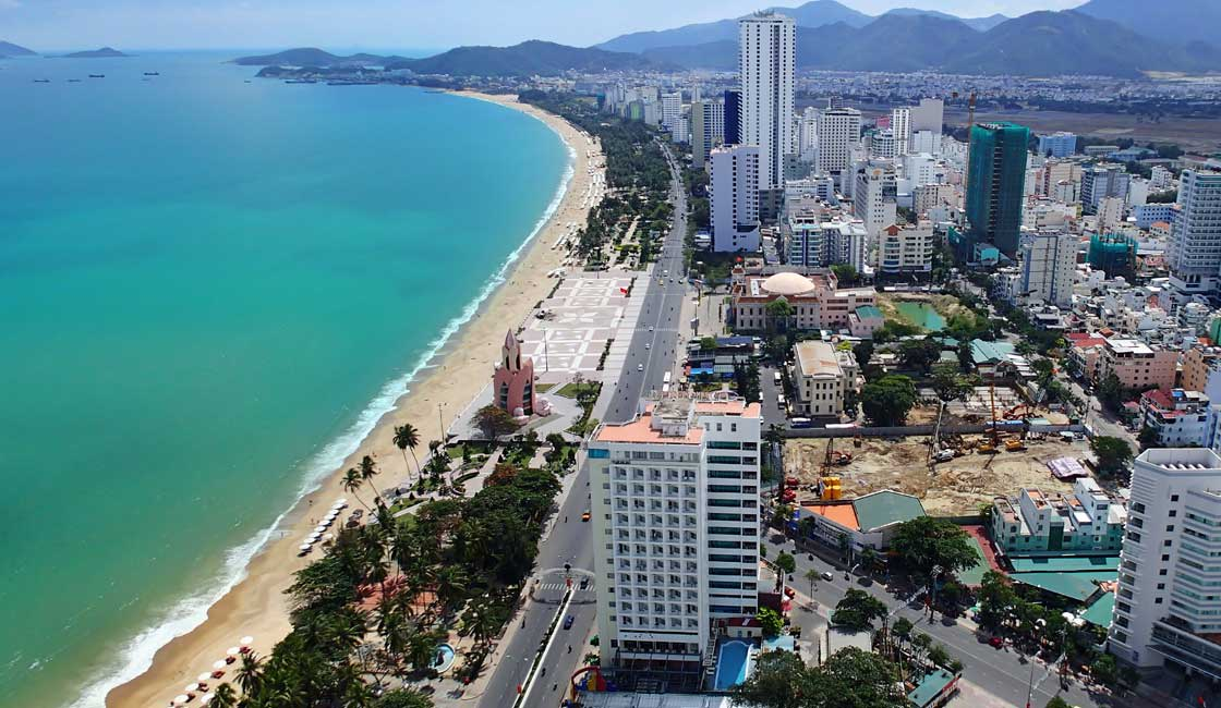 Aerial view of the beach in Nha Trang