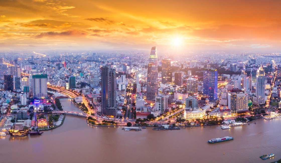 Saigon panorama at sunset