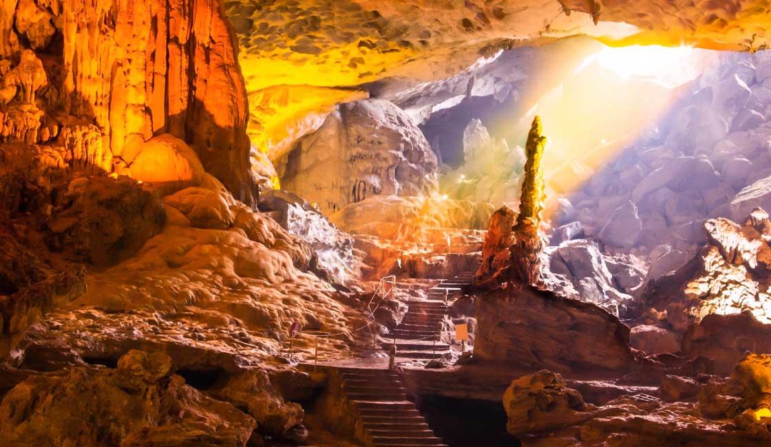 Golden lit stalagmite