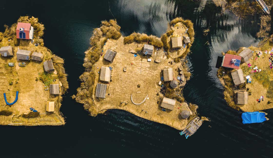 Artificial islands on the lake, seen from above
