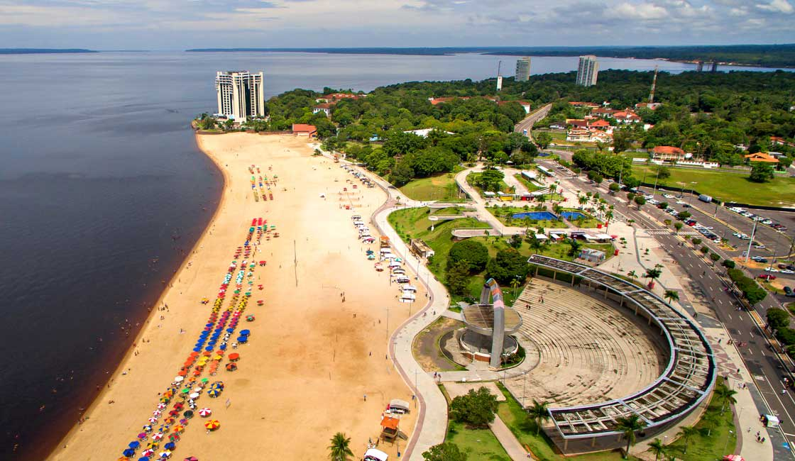 Aerial look of the river bank in Manaus