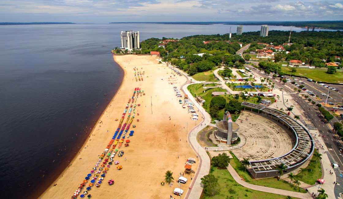 Aerial view of Manaus beach
