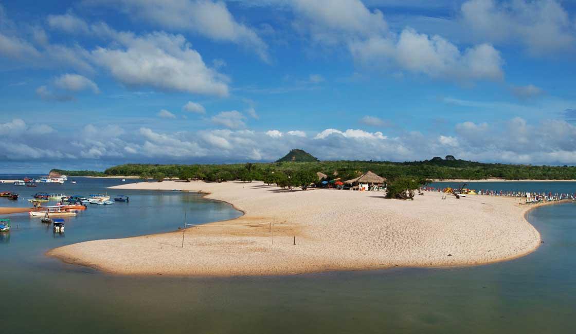 Sandy river bank beach