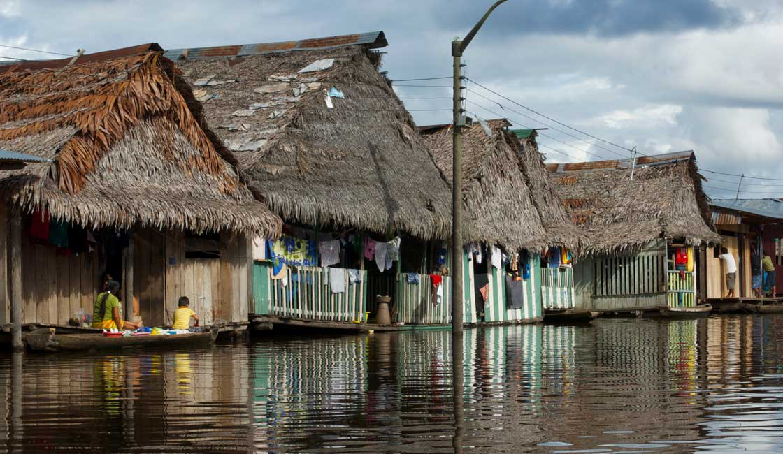 Floating wooden houses