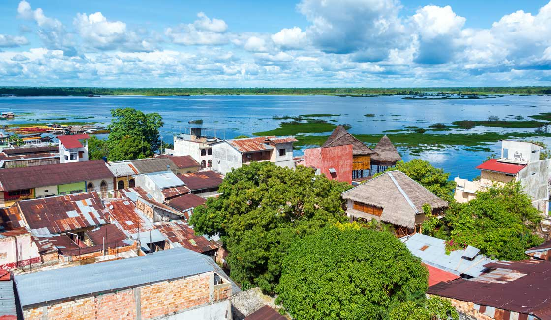 River and Iquitos town aerial view
