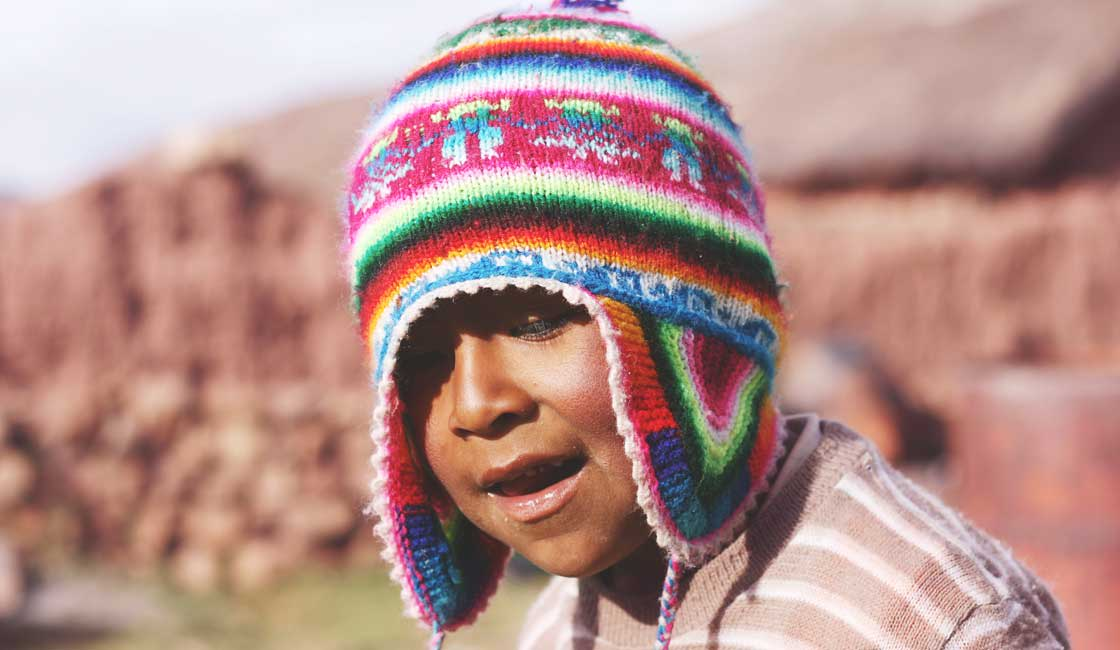 Boy wearing chullo hat