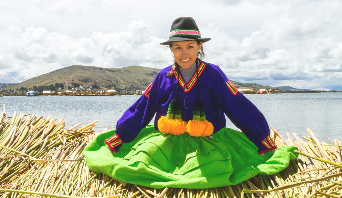 Woman wearing traditional Titicaca area clothes