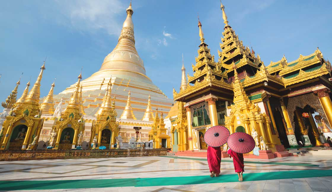 Two young monks in Shwedagon