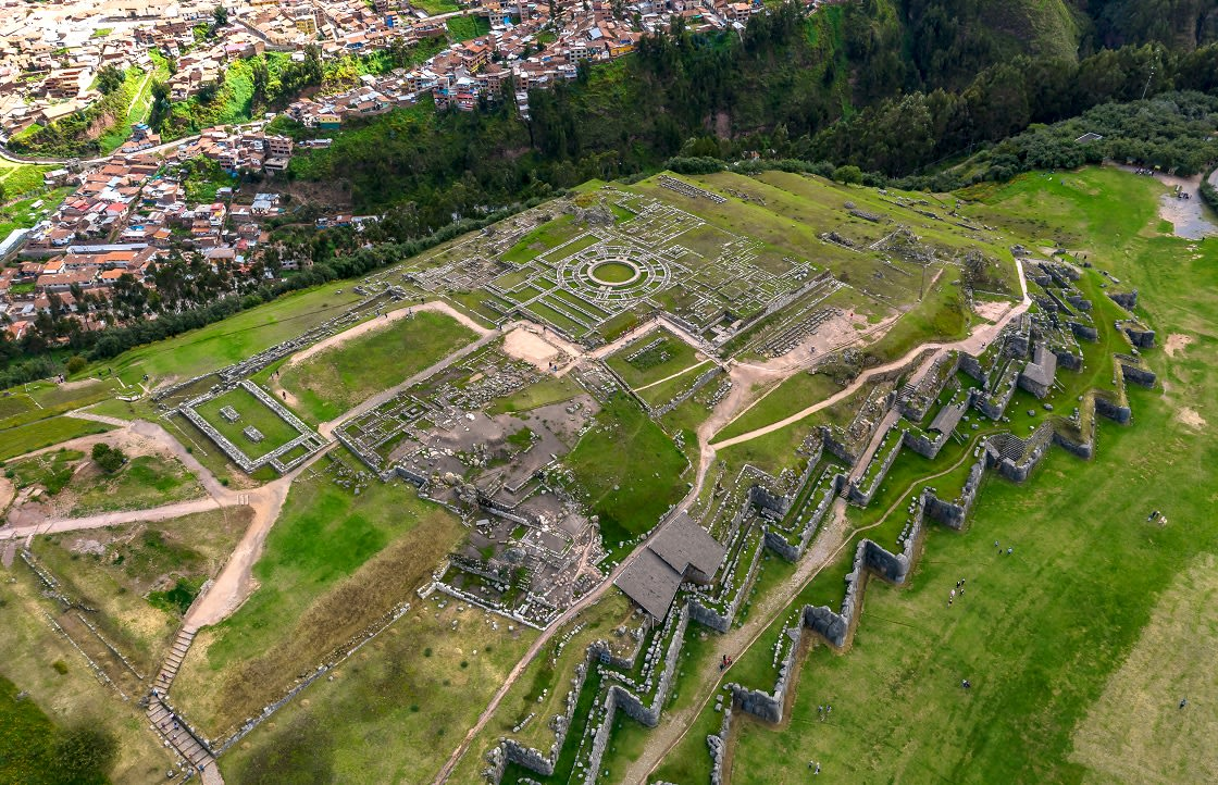 Aerial Top View Of The Inca Ruins Of Sacsayhuaman