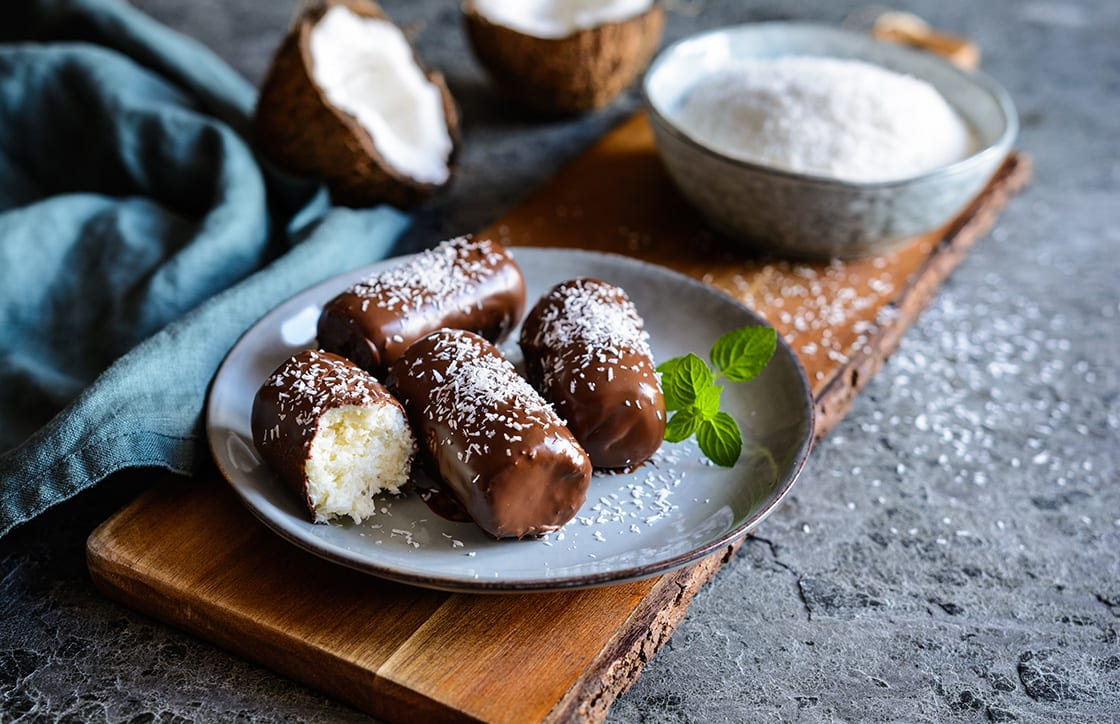 Delicious,Homemade,Coconut,Bars,Coated,In,Chocolate
