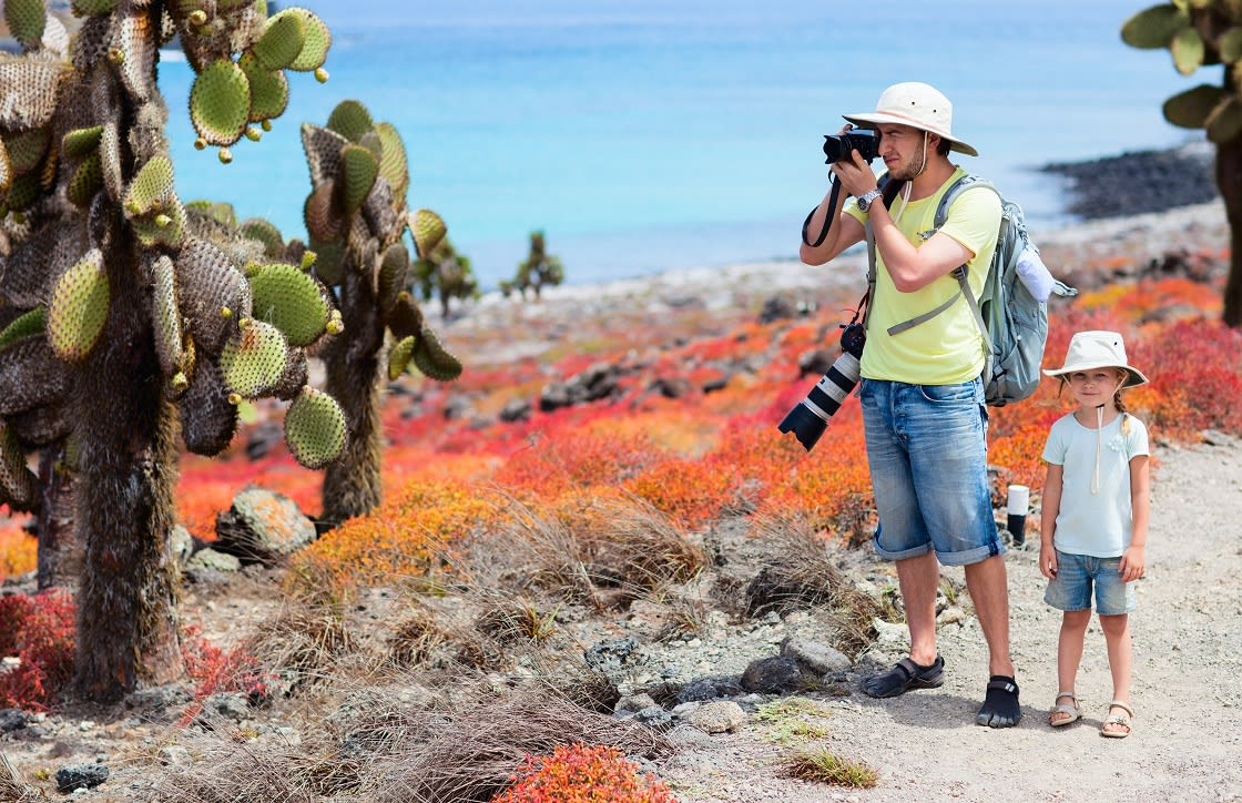 Father And Daughter On Galapagos Islands