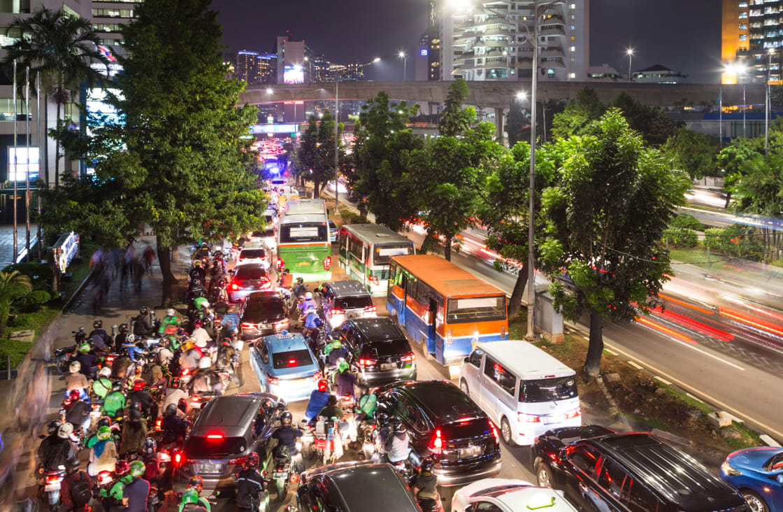 Traffic jam and crowded streets in Myanmar
