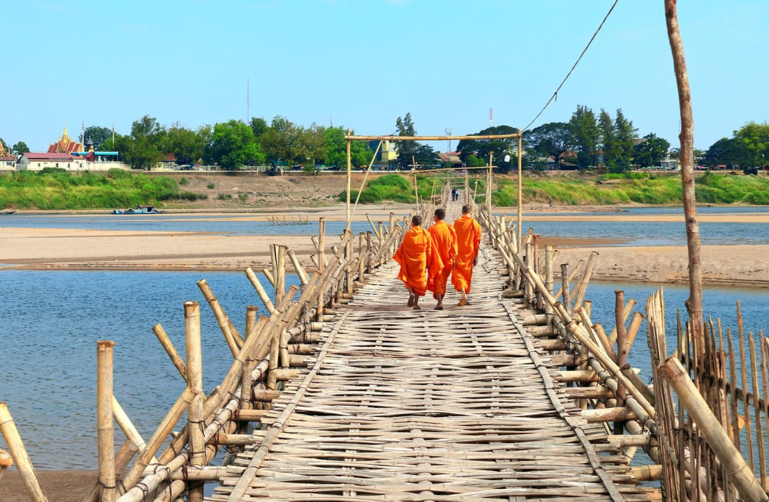 local people walking along the mekong river
