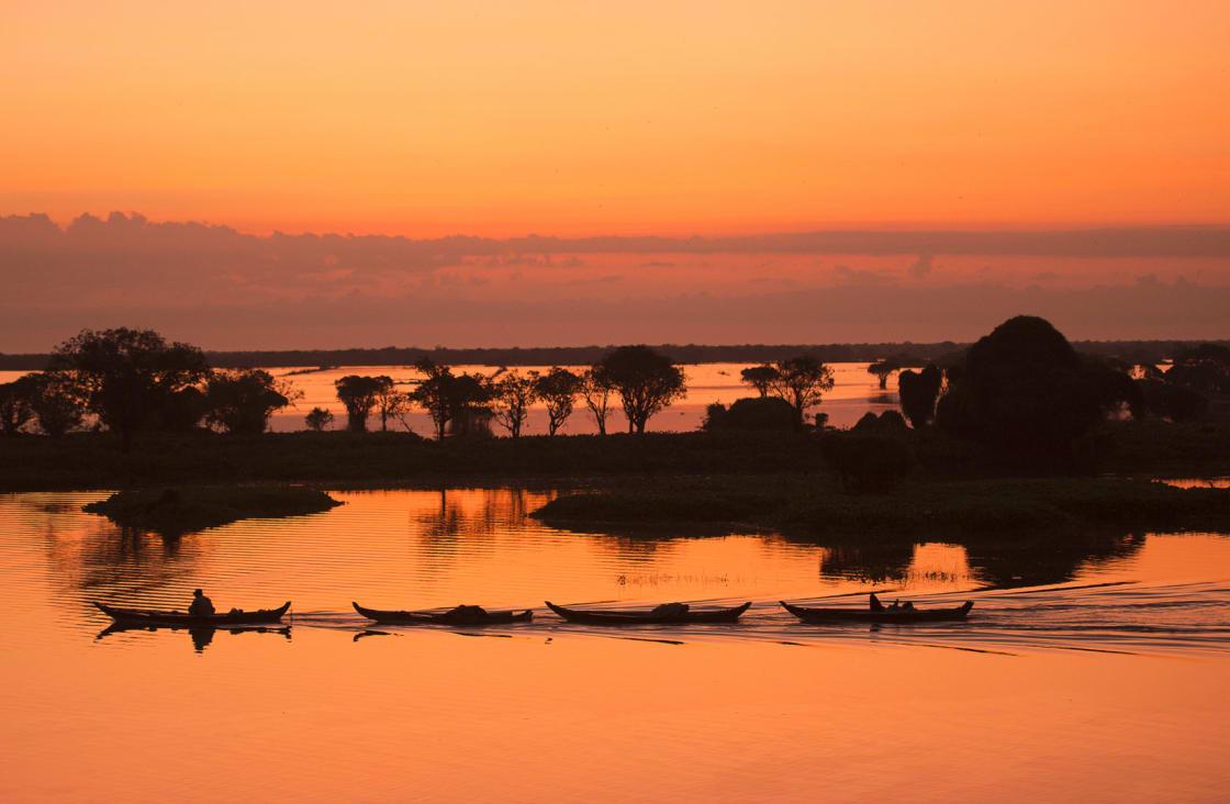 Sunset at Tonle Sap lake