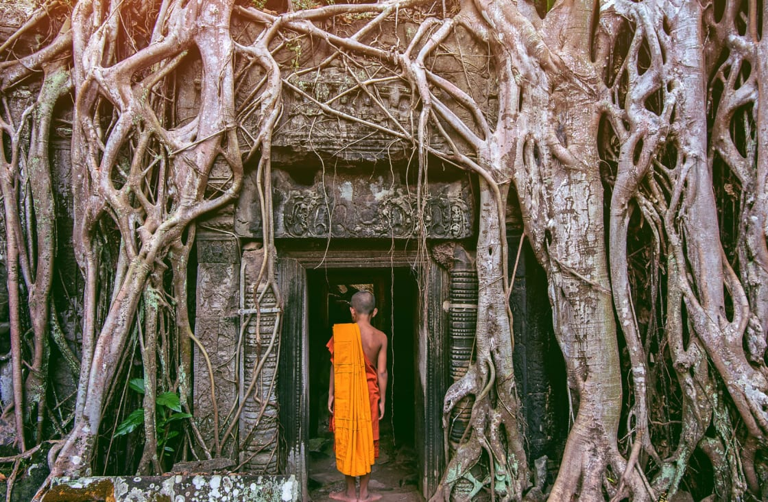 monk walking into a temple
