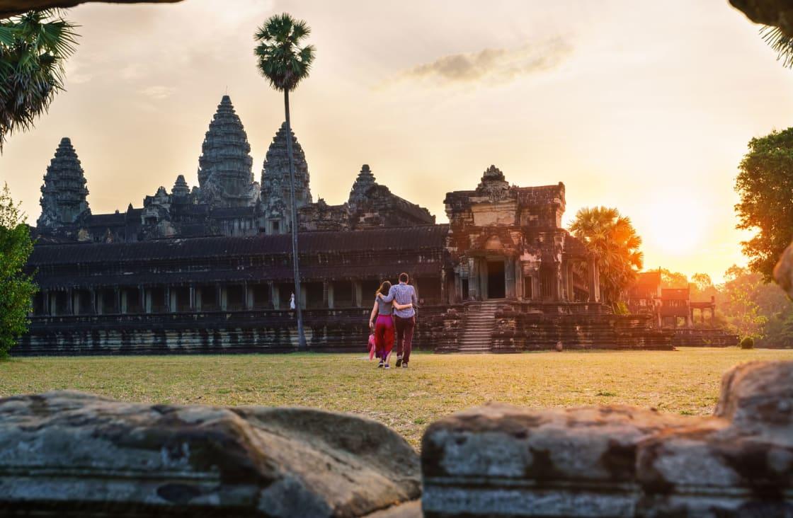 honeymooners visiting a temple
