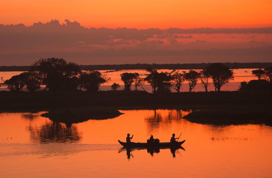 Sunset at Tonle-Sap-Lake