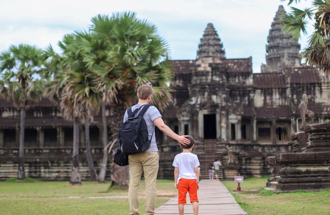 father and son at at angkor wat