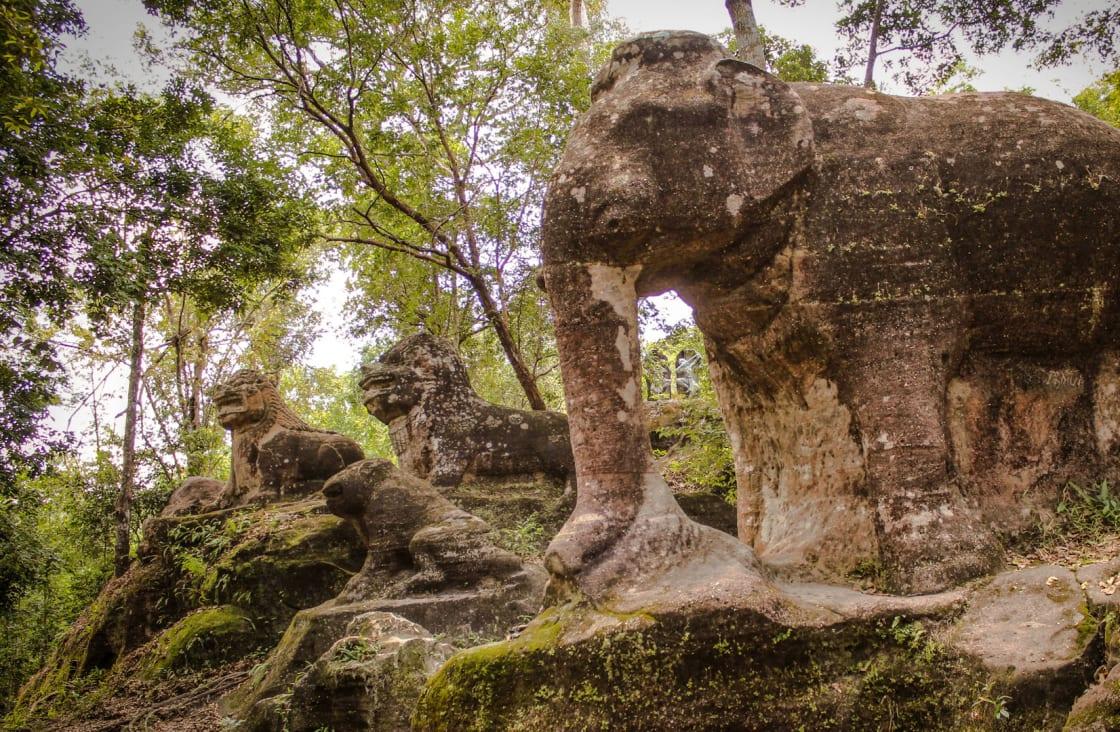 stone elephant at kulen national park