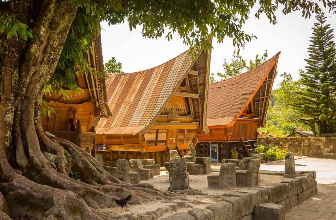 wooden temple at lake toba