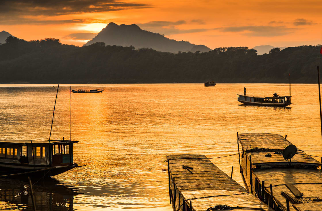 sunset at a port at the mighty mekong