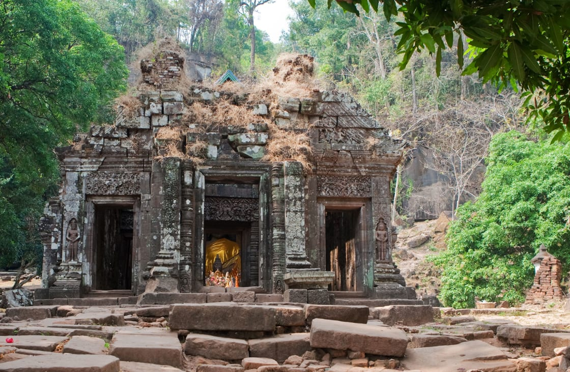 temple in ruins in the forest