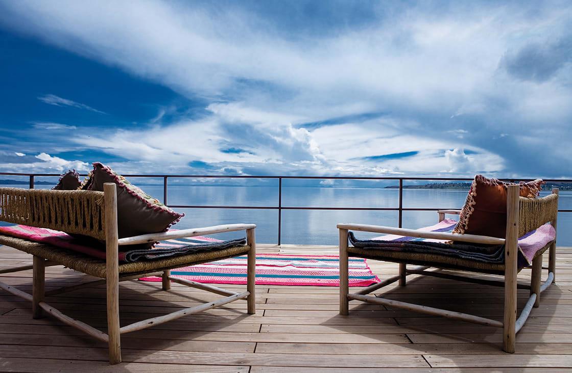 titilaka hotel terrace in the titilaka lake