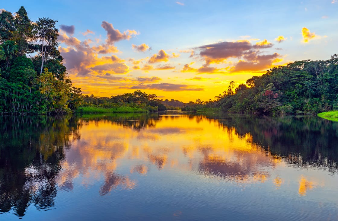 Magic Sunset In The Amazon Rainforest, Yasuni National Park