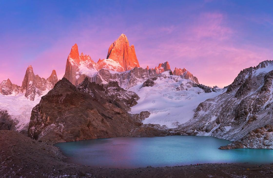Fitzroy's Red Burning Peak And Laguna de los tres At Sunrise, Los Glaciares