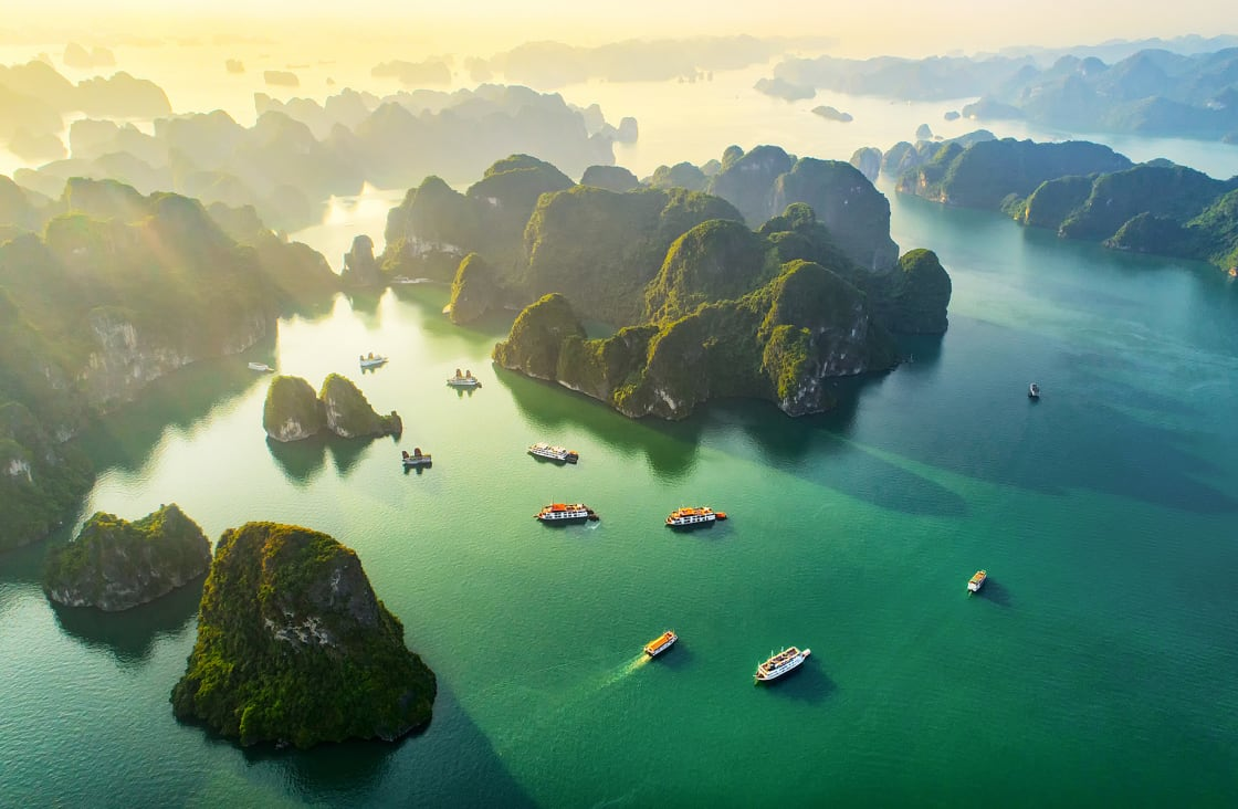 Aerial,View,Floating,Fishing,Village,And,Rock,Island,,Halong,Bay,