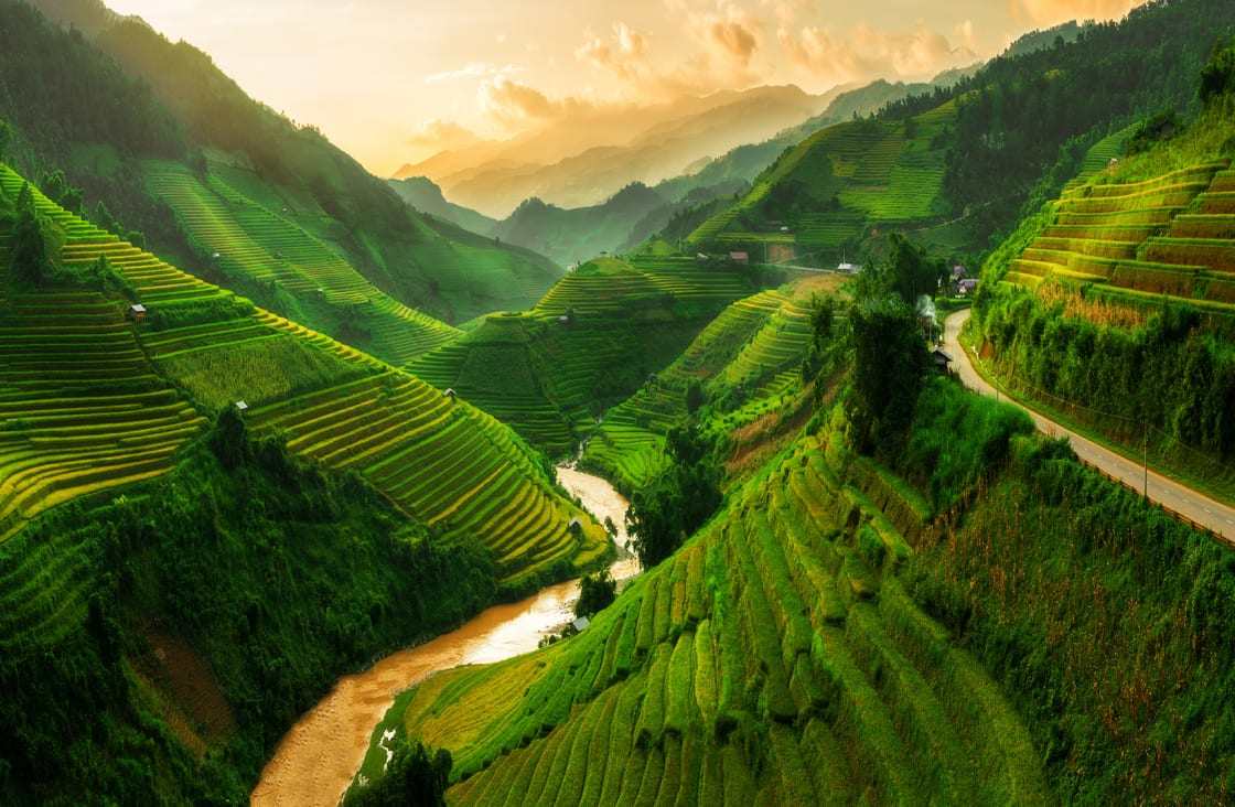 Mu,Cang,Chai,,Terraced,Rice,Field,Landscape,Near,Sapa,,North