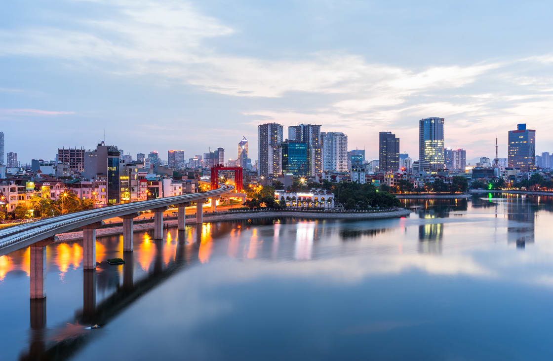 Aerial,Skyline,View,Of,Hanoi.,Hanoi,Cityscape,At,Twilight