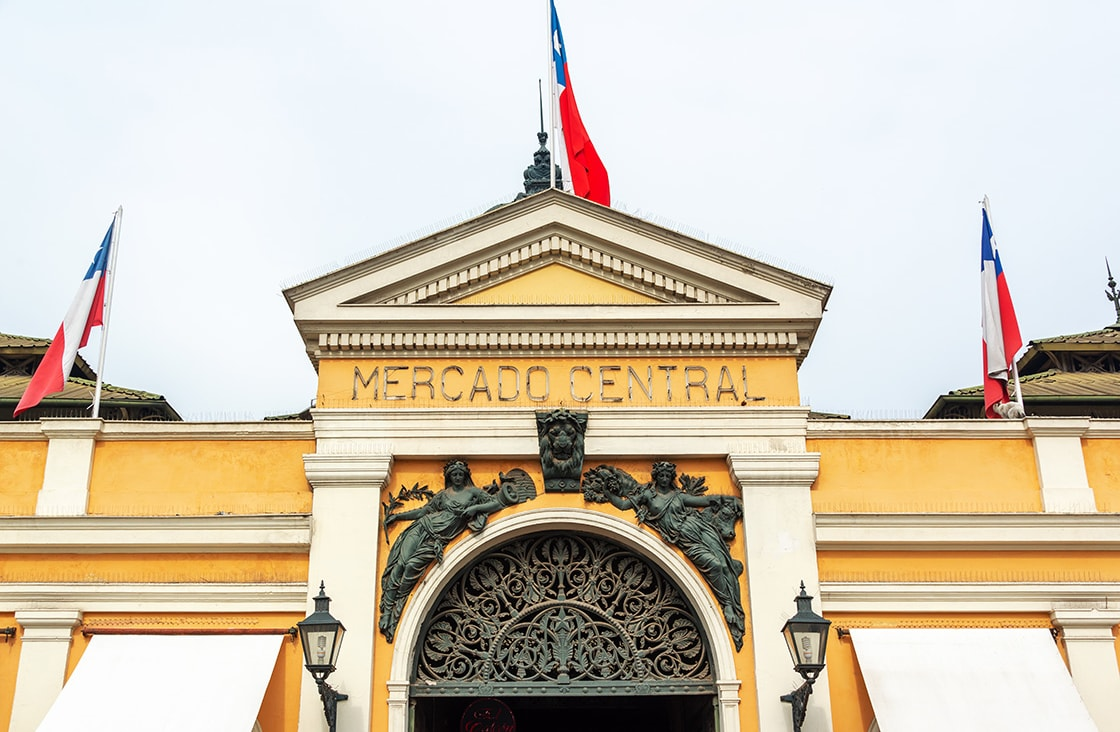 Entrance,Of,The,Covered,Market,In,Santiago,,Chile