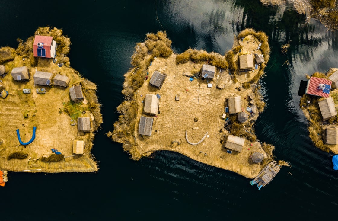 Aerial,Top,View,Photo,Of,Floating,Islands,On,Lake,Titicaca