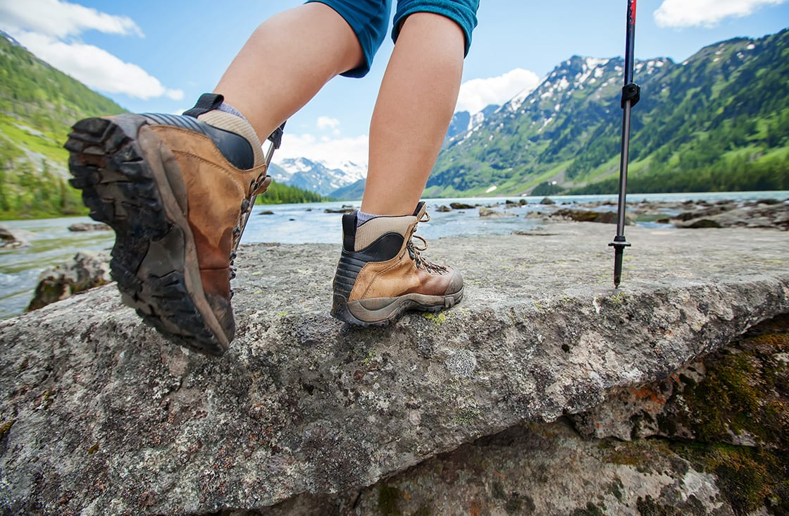 Hiking,Boot,Closeup,On,Mountain,Rocks