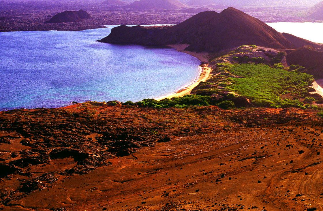 Summit,Of,Bartolome,Islet,,Western,View,To,Santiago,Island,,Galapagos