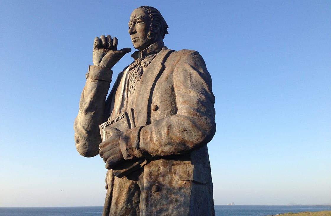 Close,Up,From,Charles,Darwin,Statue,At,San,Cristobal,Galapagos